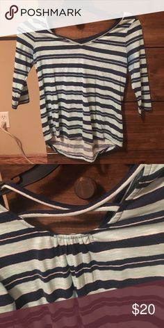 Stripe shirt Navy and blue top, size xs in great condition! Red Camel Tops Blouses