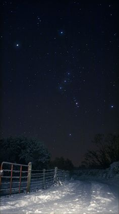 Sideways Orion Over Snowy Ireland