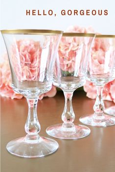 2fa6d72d6c32 An elegant set of gold rimmed crystal water glasses made by Fostoria in the  much sought