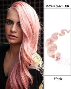 Wholesale Pink 18'-24' Body Wave 100% Remy Hair Human Micro Loop Hair Extensions