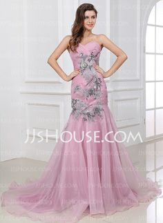 Evening Dresses - $162.19 - Mermaid One-Shoulder Court Train Organza Evening Dress With Ruffle Lace (017017336) http://jjshouse.com/Mermaid-One-Shoulder-Court-Train-Organza-Evening-Dress-With-Ruffle-Lace-017017336-g17336