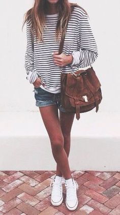 stripped sweatshirt + denim shorts casual fashion