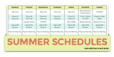 OUR NESTING PLACE BLOG : SUMMER SCHEDULE