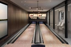A modern home with a bowling alley.