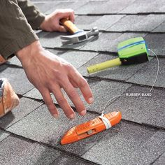 When you're working on the roof, wrap rubber bands around tools to help them stay put. The rubber will grip on roofs with up to a 6/12 slope. Keep yourself from slipping off the roof with these tips.