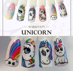 Horse Nail Art, Horse Nails, Unicorn Nail Art, Animal Nail Art, Cartoon Nail Designs, Nail Art Designs, Trendy Nail Art, Cool Nail Art, How To Do Nails