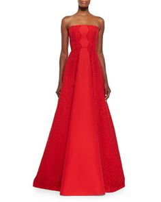 Neuss Strapless Gown w/ Lace Sides by Alexis at Neiman Marcus.