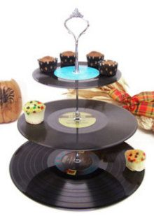 Retro Vintage Record Dessert 3 Tier Pedestal Cake Cupcake Stand Upcycle Recycle Wedding Birthday Graduation Party Rock Around The Clock Disco Party, Disco Theme, 80s Theme, Rock Around The Clock, Cake And Cupcake Stand, Cupcake Tray, Cupcake Display, Cupcake Holders, Diy Cupcake