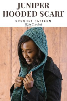 """""""If you've never crocheted cables before, this is a perfect first crochet cable pattern. The scarf portion is made straight and long, then the center portion is sewn up to make a hood. If you prefer your scarves sans hood, simply skip this step and you'll have a nice long accessory to wear all season."""""""