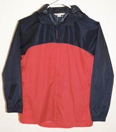 Lands End Navigator Rain Jacket S 8 Red Blue Hood Packable Coat #LandsEnd #RainGear
