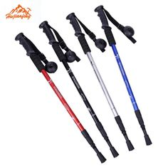 Premium 2 pcs 52-110cm 3-Section Straight Grip Handle Trekking Walking Hiking Sticks Poles Telescopic Pole Alpenstock Anti-Shock