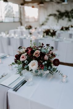 Wedding Flower Arrangements Minimalist Industrial Winter Wedding with Blush and Burgundy Accents - Love was definitely brewing at this minimalist industrial wedding in dreamy shades of blush and burgundy. Winter Wedding Centerpieces, Winter Wedding Flowers, Floral Wedding, Wedding Decorations, Wedding Ideas, Burgundy Wedding Flowers, Wedding Table Flowers, Wedding Planning, Wedding Yellow