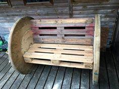 DIY 2 Pallet Board & 2 Spool Wheel Bench | 101 Pallet Ideas