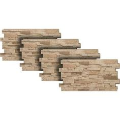 Urestone Stacked Stone Desert Tan 24 in. x 48 in. Stone Veneer Panel - The Home Depot Stone Siding Panels, Faux Stone Siding, Stone Veneer Panels, Faux Brick, Stacked Stone Panels, Faux Stone Panels, Home Depot, Dry Stack Stone, Brick Projects