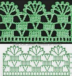 Make your own crochet edgings Crochet Border Patterns, Crochet Blanket Edging, Crochet Lace Edging, Crochet Diagram, Crochet Chart, Crochet Designs, Crochet Doilies, Knitting Patterns, Diy Crafts Crochet