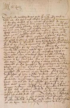 "Official letter of Lady Jane Grey signing herself as ""Jane the Quene"""