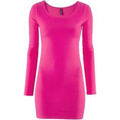 H&M Dress ($14) ❤ liked on Polyvore featuring dresses, h&m, vestidos, pink, pink long sleeve dress, long sleeve dress, long sleeve short dress, pink dress and longsleeve dress
