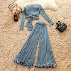 2019 autumn new female O-neck long sleeve lace-up shirts sold color high waist Chiffon flare trousers suit women& 2 piece sets Indian Fashion Dresses, Girls Fashion Clothes, Teen Fashion Outfits, Girl Fashion, Girl Outfits, Clothes For Women, Cute Casual Outfits, Casual Chic, Laced Up Shirt
