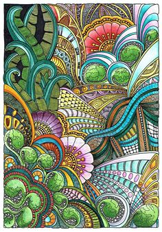 zentangle inspired art - Floral Fantasia 31 July 2014 by Artwyrd on DeviantArt Tangle Doodle, Tangle Art, Zen Doodle, Doodle Art, Zentangle Drawings, Doodles Zentangles, Zentangle Patterns, Art Drawings, Doodle Patterns