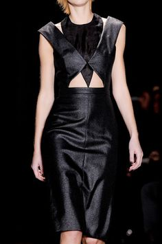 Geometric Fashion - sharp cut out detail with intersecting shapes - structured dress; closeup fashion details // Cushnie et Ochs