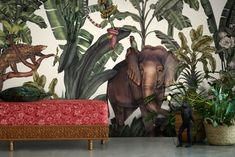 Welcome to the wonderful world of the Jungle Kingdom wallpaper mural by artist Karina Eibatova. Featuring oversized tropical leaves and beautifully detailed illustrations of elephants, pangolins, lemurs and much more beside. This exotic jungle inspired wall mural will bring a tropical feel to any interior design project! #wallpapermural #junglethemewallpaper #nurserywallpaper #kidswallpaperideas #tropicalwallpapermural #natureinspiredwallpaper Elephant Wallpaper, Nursery Wallpaper, Animal Wallpaper, Of Wallpaper, Designer Wallpaper, Wallpaper Ideas, Jungle Vibes, Tropical Wallpaper, Jungle Theme