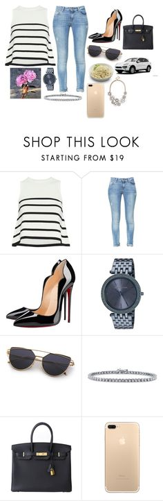"""""""Drive myself crazy"""" by bustamantemariana ❤ liked on Polyvore featuring Cardigan, Zara, Christian Louboutin, Michael Kors, BERRICLE, Hermès, Porsche and BaubleBar"""