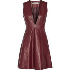Acne Studios Lavern leather dress (23.087.990 IDR) ❤ liked on Polyvore featuring dresses, vestidos, short dress, red, burgundy skater skirt, red turtleneck, red skater skirt, red a line dress and red dress