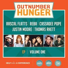 General Mills, the Big Machine Record Label and Feeding America have teamed up for the Outnumber Hunger campaign. This initiative starts at a critical time with over fifty million Americans suffering from hunger. Country Music Stars, Country Singers, Cassadee Pope, World Hunger, Reba Mcentire, Justin Moore, Rascal Flatts, Thomas Rhett, Various Artists