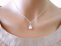 Pearl necklace wedding bridesmaids gifts silver chain by casamoda bridal necklace pink pearl pendant cubic by mytinystarshining 2300 aloadofball Image collections