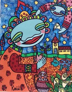 Naive Art : By Karin Dempsey Greenwood : Mixed Media : Water Colour Paper. Vibrant Colors, Colours, Different Media, Naive Art, Mixed Media, Kids Rugs, Watercolor, Paper, Decor