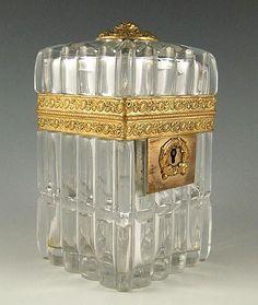 A superb antique Baccarat cut crystal jewelry box or sugar casket, circa 1820.