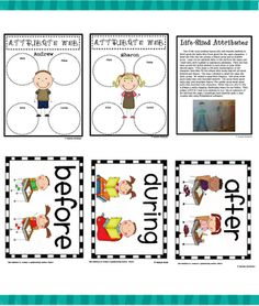 Before/during/after cards & character attribute graphic organizer - Re-pinned by @PediaStaff – Please Visit ht.ly/63sNt for all our pediatric therapy pins