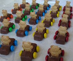 Teddy Grahams in Milky Way cars with M&M wheels - cute idea for my future grandchildren