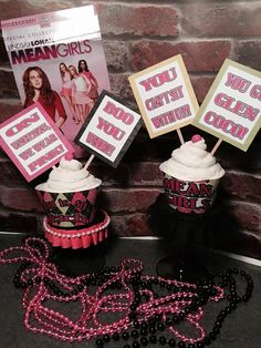 Mean Girls themed cupcake wrappers and picks by STORYBOOKSTANDS Barbie Birthday Party, 30th Party, 13th Birthday Parties, Girl Birthday Themes, Bachlorette Party, Bday Girl, Girl Themes, 16th Birthday, Birthday Fun
