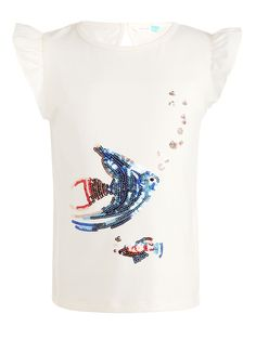 e9843bd3 BuyJohn Lewis Girls' Fish Sequin T-Shirt, White, 2 years Online at
