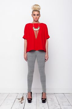 red waterfall top and herringbone trousers! www.kendelle.com <3
