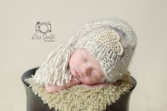 Knitted Newborn Tassel Sleep Cap