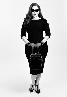Plus Size 1960s Style Mod Super Spy Black Dress