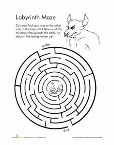 Greek Mythology Worksheets For Kids Greece Mythology, Greek Mythology Art, Greek Myths For Kids, Legends For Kids, Maze Worksheet, Jackson School, Labyrinth Maze, Greek Crafts, Mazes For Kids