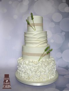 Lavender Wedding Cake by Dragons and Daffodils Cakes - http://cakesdecor.com/cakes/252703-lavender-wedding-cake