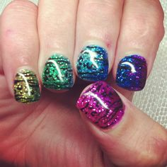 Colorful animal print gel nails