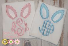 Personalized Bunny Ear Monogram Easter Shirt by sewcutecreations, $21.00