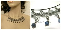 Lace of metal necklace. Sterling Silver with faceted Sodalite beads.