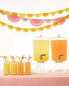 Orange, Pink and Yellow party decorations