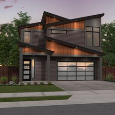 Stunning modern shed roof design and a proven house plan combine to make a guaranteed winner. design Narrow Modern Two Story House Plan Cool House Designs, Modern House Design, Home Design, Design Ideas, Two Story House Plans, Two Story Homes, Modern Shed, Modern House Plans, Modern Houses