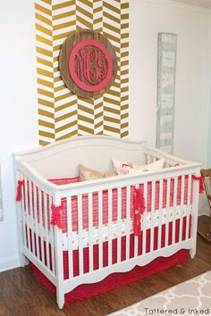 Project Nursery - Gold Herringbone Accent Wall - Project Nursery