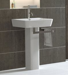 """View the Bissonnet 27000/27430 Emma 21-7/10"""" Pedestal Sink with Overflow and Single Faucet Hole at Build.com."""