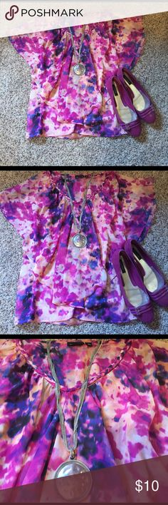 Flirty BoHo shirt Multi color flowing boho shirt Allen B Tops Blouses