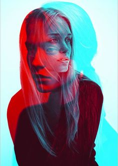 double exposure red and blue photo
