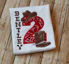 Cowboy Birthday Shirt, Cowboy applique, Western Birthday, Rodeo,  Rodeo Shirt, Rodeo Birthday by OhSewCuteLLC on Etsy https://www.etsy.com/listing/275439104/cowboy-birthday-shirt-cowboy-applique
